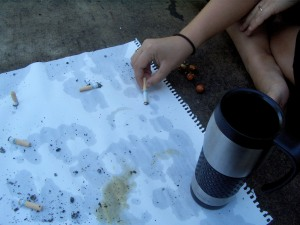 Cigarette burns and coffee stains are pretty much the same color.